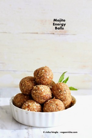 The best Mojito energy balls. With or without alcohol. How to make non-alcoholic Vegan Mojito Balls. Snack bites with Dates, lime zest, mint, nuts and seeds. Vegan Gluten-free Soy-free Recipe.#vegan #glutenfree #veganricha