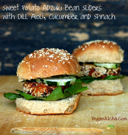 Sweet potato Adzuki bean burger sliders with Spinach, cucumbers and dill aioli. Fresh, springy and easy. Vegan soy-free Recipe