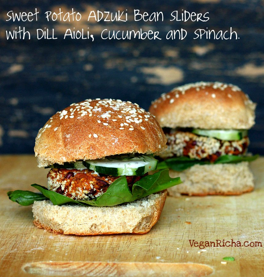 Sweet Potato Adzuki Bean Burger Gameday Sliders | Vegan Richa