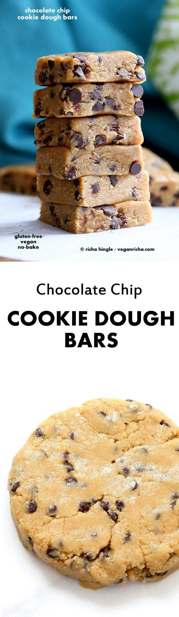 Easy Vegan Chocolate Chip Cookie Dough Bars. Gluten-free | VeganRicha.com