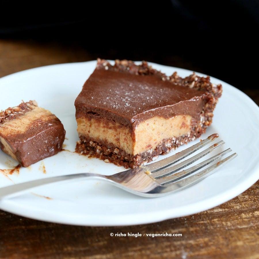 Vegan Salted Caramel Pie - layers of Salted Date Caramel, Chocolate Ganache and Almond Chocolate Crust. No Bake Gluten-free palm oil free   VeganRicha.com