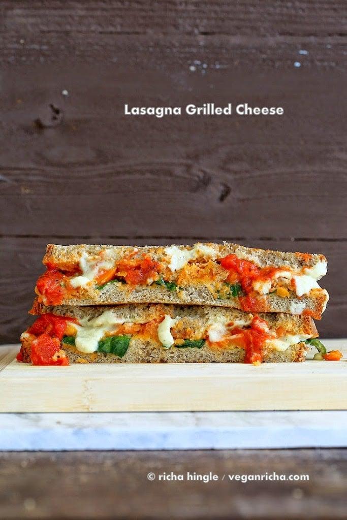Vegan Lasagna Grilled Cheese Sandwich! Nut-free Soy-free Alfredo sauce, lentils cooked in pasta sauce, veggies, greens, vegan cheese | VeganRicha.com