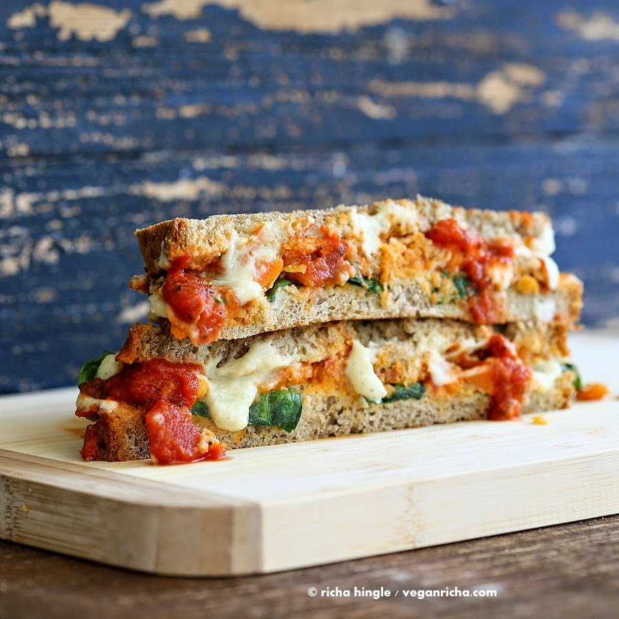 Lasagna Grilled Cheese Sandwich #vegan #veganricha