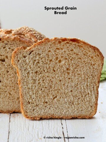 This Vegan Sprouted Wheat Bread Recipe makes a great sandwich bread. It has sprouted wheat and Sprouted Millet for a nutty flavor. Dairy-free #glutenfree #veganricha #vegan