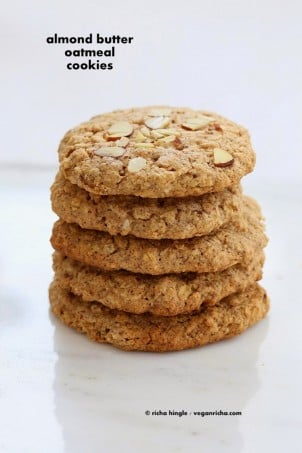 These Vegan Gluten-free Almond Butter Oatmeal breakfast cookies are oil-free, easy and come together quickly for a snack or breakfast. Gluten-free oil-free. Use other nut butters or seed butters for variation #glutenfree #veganricha #vegan