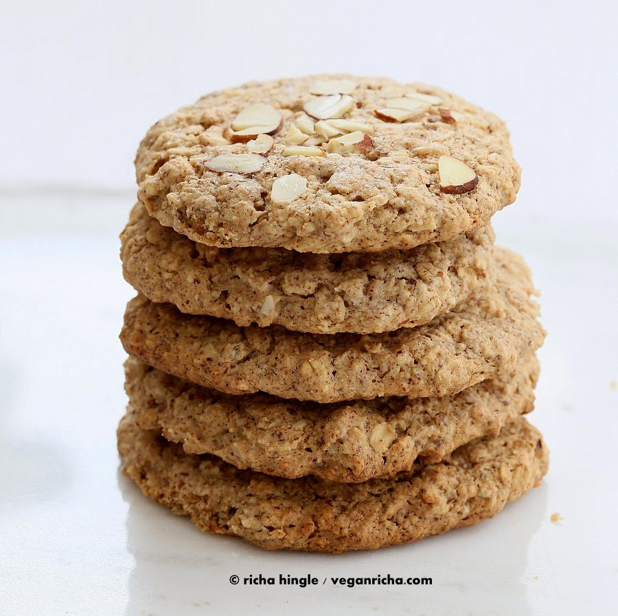 Vegan GF Almond Butter Oatmeal Cookies