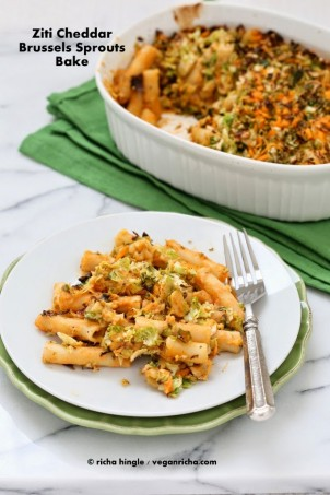The shaved brussels in this pasta get caramelized with salt and pepper. The melty cheddar mixed in adds a great offset. #glutenfree #veganricha #vegan