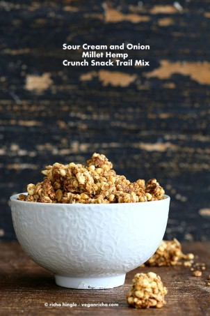 This sour cream onion granola is a fun snack. crunchy savory hemp millet clusters. Use as snack or top soups and salads. Gluten-free Vegan Recipe. #glutenfree #veganricha #vegan