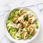 Baked Lentil Split Pea Falafel Bowl with Tahini dressing. Gluten-free Soy-free Recipe