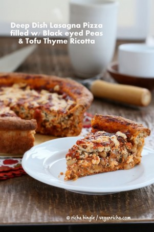 Black Eyed Peas, Tofu Thyme Ricotta, Deep Dish Pizza Vegan Recipe