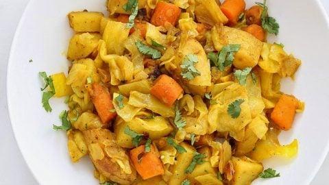 Atakilt Wat - Ethiopian Cabbage Potato Carrots. Easy spiced side full of amazing flavor. free of Dairy, egg, corn, soy, yeast, nut, gluten, grain. #glutenfree #veganricha #vegan