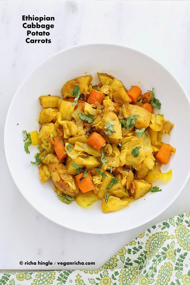 Atakilt wat ethiopian cabbage potato carrots vegan gluten free after indian ethiopian is always the next choice when we want some spice and deep flavors in the meal the veggie platter filled with 2 forumfinder Choice Image