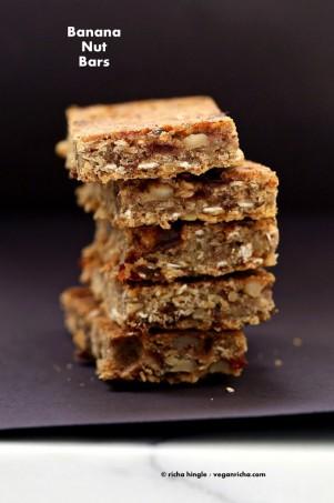 Banana Nut Snack Bars. Vegan Glutenfree Recipe