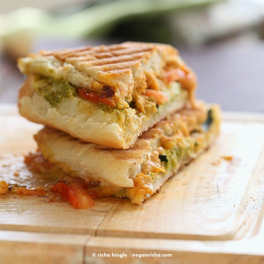 Cauliflower Cheddar Pesto Grilled Cheese | Vegan Richa