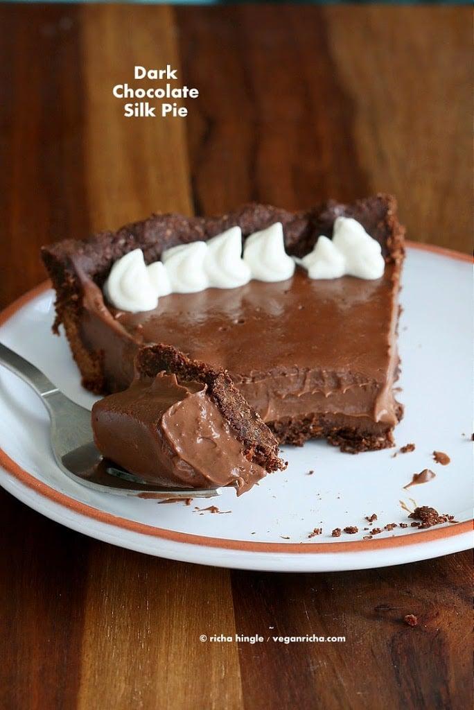 Dark Chocolate Silk Pie with Chocolate Almond Crust Vegan