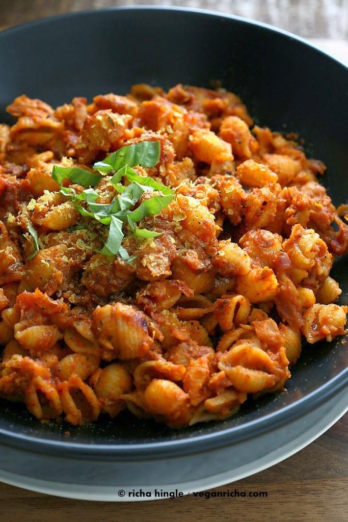Vegan Chickpea Chorizo with Quinoa Shells in Tomato sauce