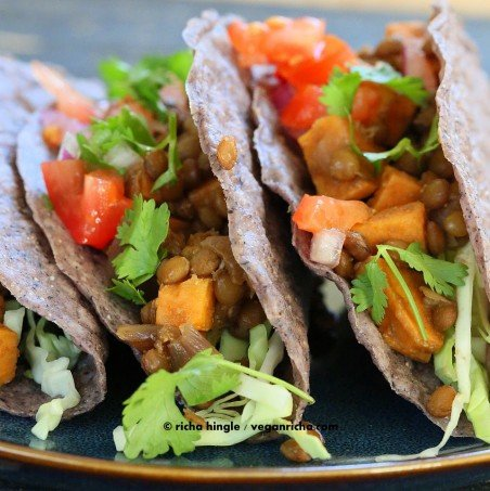 Smoky Sweet Potato Lentil Tacos #vegan #veganricha