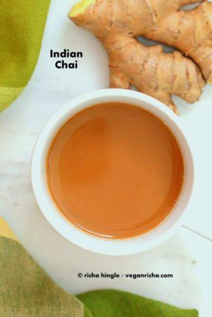 Vegan Indian Masla Chai. Fabulous almond milk tea with cardamom and other spices. #glutenfree #veganricha #vegan