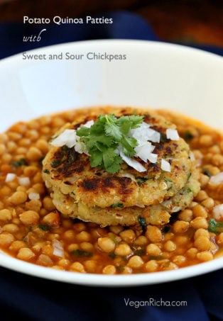 These potato quinoa patties have simple ingredients and spices & go very well with a sweet and spicy chickpea curry. Tikki Chole.