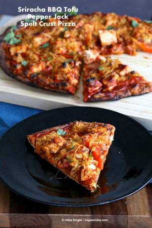 Sriracha BBQ Tofu Pizza with Pepper Jack on Spelt Crust. Vegan Recipe