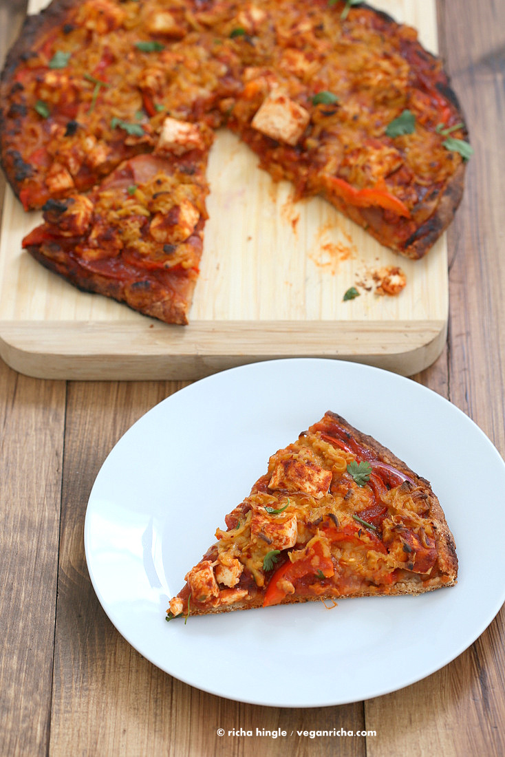 Vegan BBQ Tofu Almond Milk Pepper Jack Cheese Pizza | VeganRicha.com