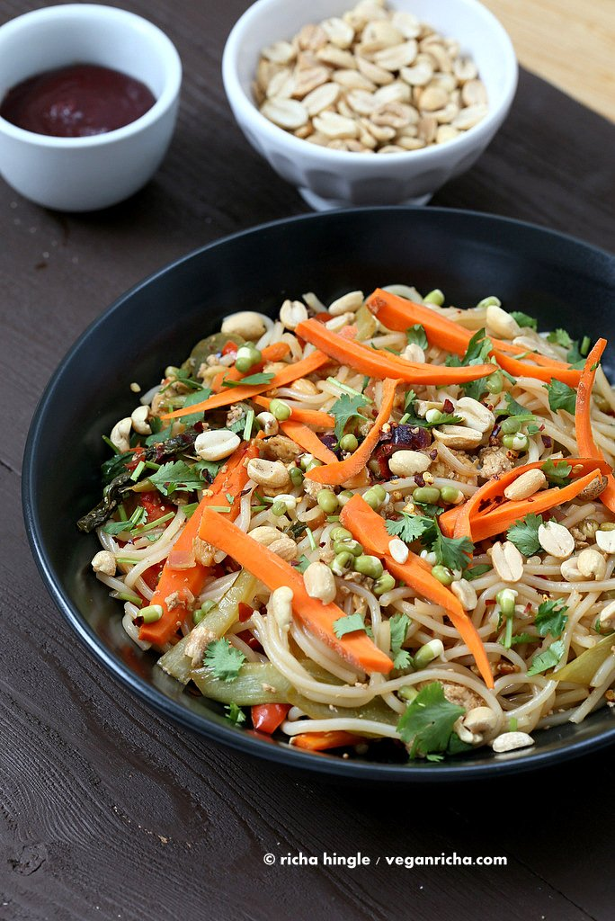 This Vegan Pad Thai is easy to put together and is delicious for a weeknight meal. Rice noodles with veggies, tamarind, thai chili paste and sprouts. #Vegan #glutenfree #recipe. | VeganRicha.com