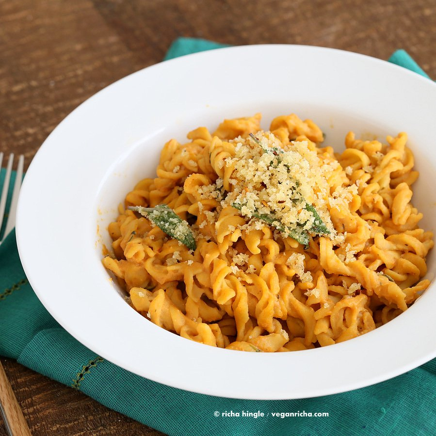 Vegan Pumpkin Sage Pasta |Vegan Richa