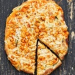Vegan Buffalo Chickpea Pizza with White Garlic Sauce