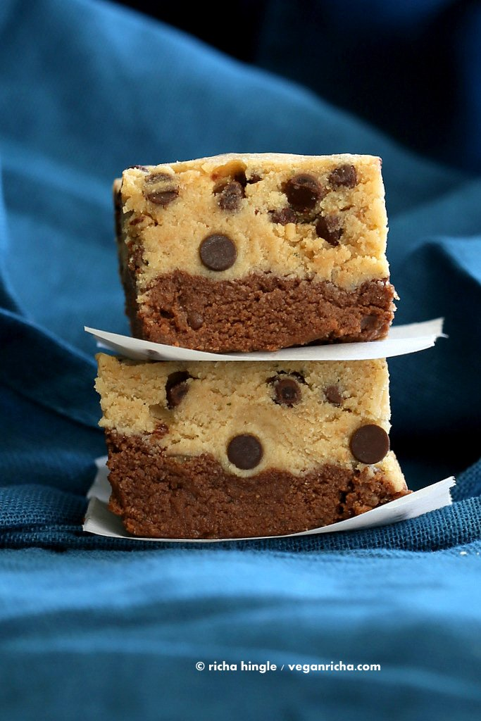 These Vegan Cookie Dough Brownies have a secret ingredient. Lentils! Free of dairy, egg, soy and gluten | VeganRicha.com #vegan #glutenfree #soyfree