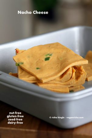 Nut Free Vegan Nacho Cheese Slices. Gluten-free Recipe