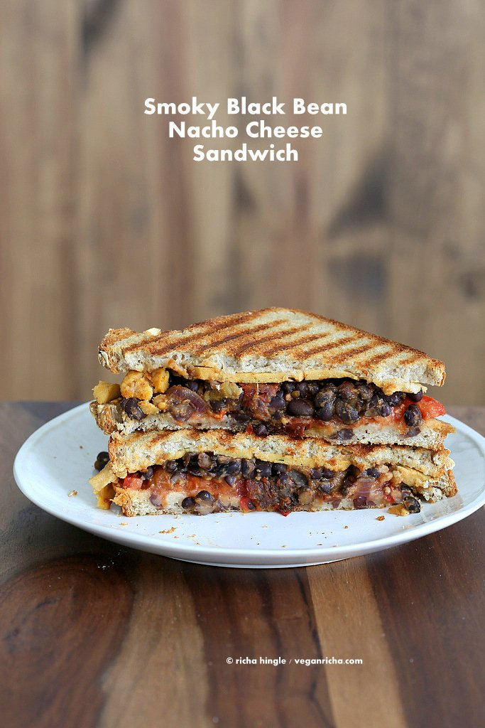 Smoky Black Bean Nacho cheese Sandwich | Vegan Richa