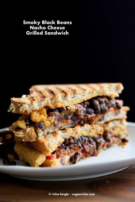 Vegan Black Bean Nacho Cheese Sandwich
