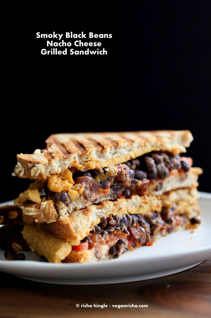 Vegan Black Bean Nacho Cheese Sandwich
