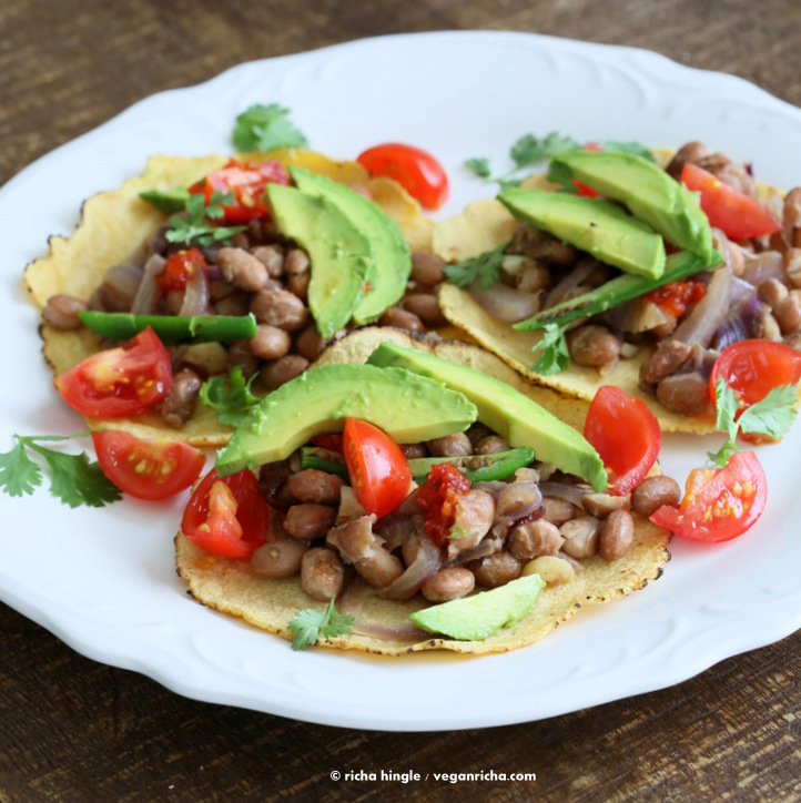 Vegan Seared Pepper Tacos With Pintos And Avocado Crema Recipes ...