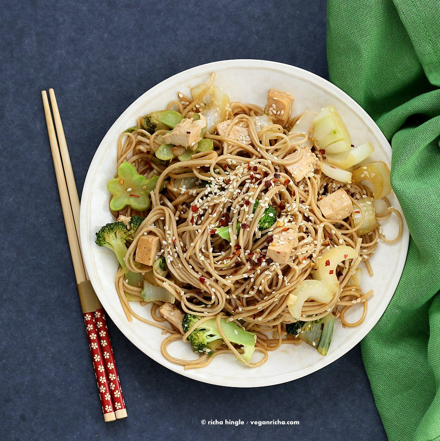Tofu Broccoli Bok Choy Stir fry with Soba Noodles