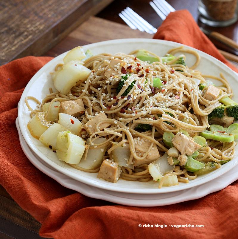 Garlic Tofu Noodles Tofu Broccoli Bok Choy Noodles