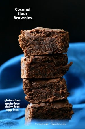 Coconut Flour Brownies | Vegan Richa #vegan #glutenfree #veganricha