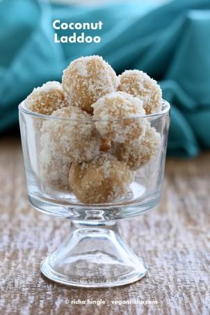 Fudgy Coconut Ladoo. Vegan Indian Dessert Recipe