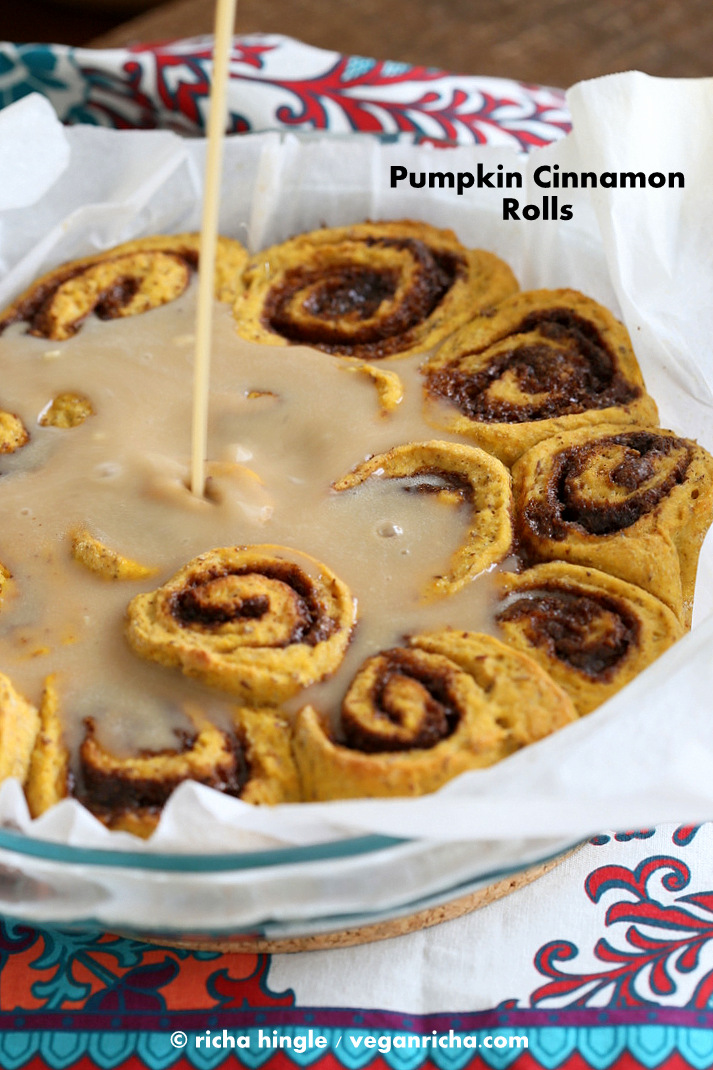 Vegan Pumpkin Cinnamon Rolls Recipe - Vegan Richa