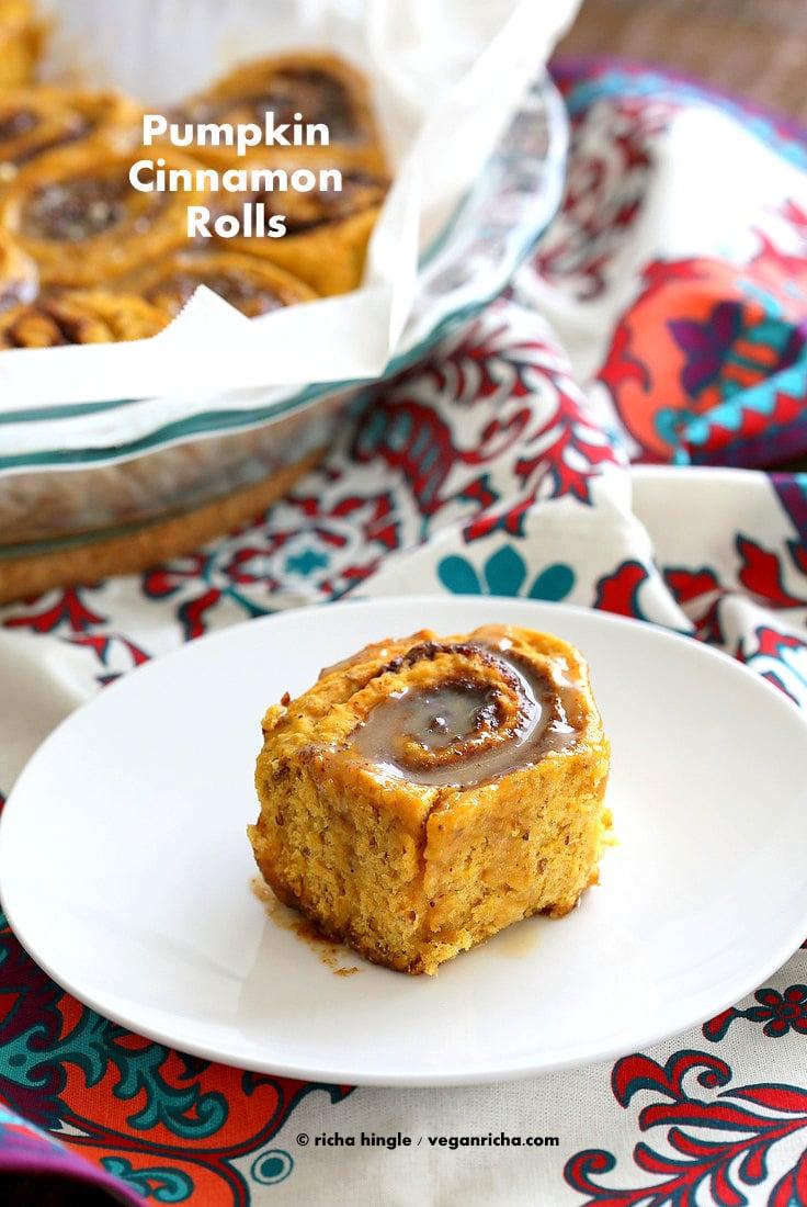 Vegan Pumpkin Cinnamon Rolls Recipe | Vegan Richa