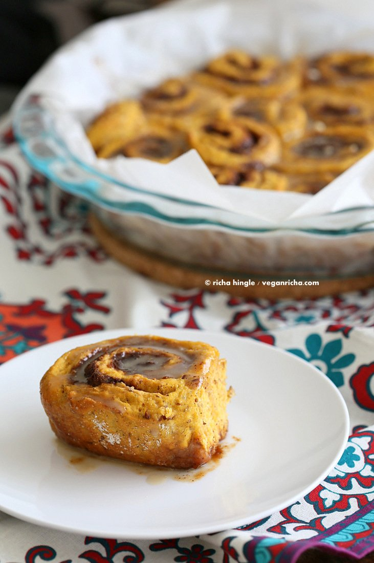 Vegan Pumpkin Cinnamon Rolls | Vegan Richa