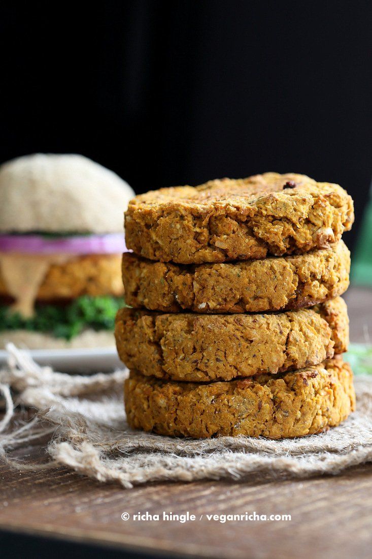 Sweet Potato Peanut Burgers | Vegan Richa