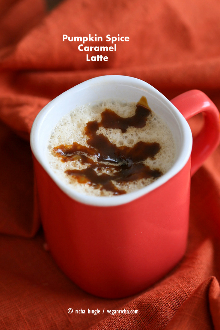 Vegan Pumpkin Spice Caramel Latte. This Pumpkin Spice Latte uses a caramel sauce made with pumpkin puree, spices and coconut sugar. Use as much or as little as you like. Vegan Gluten-free Soy-free Recipe. | Vegan Richa