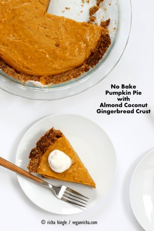 No Bake Vegan Pumpkin Pie with Gluten-free Gingerbread Crust