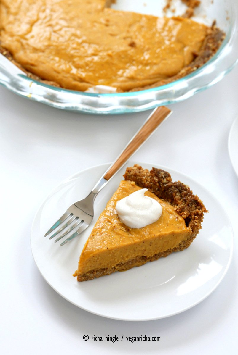 This No Bake Vegan Pumpkin Pie with Gluten-free Gingerbread Crust is easy to put together and is perfect with whipped coconut cream. Soy-free Holiday Recipe | Vegan Richa