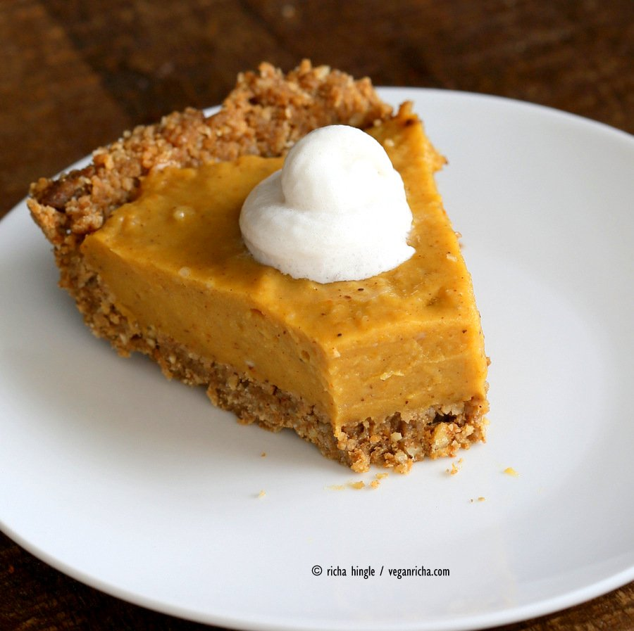 This No Bake Vegan Pumpkin Pie with Gluten-free Gingerbread Crust is easy to put together and is perfect with whipped coconut cream. Soy-free Holiday Recipe VeganRicha.com
