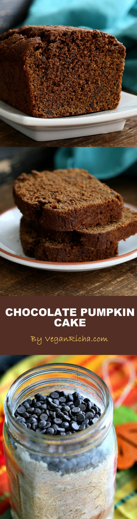 One Bowl Pumpkin Chocolate Bread or Cake. Vegan Chocolate Pumpkin Cake Mix is a perfect gift in a jar. Just add pumpkin & non dairy milk and bake. Spiced, Moist, delicious. | VeganRicha.com