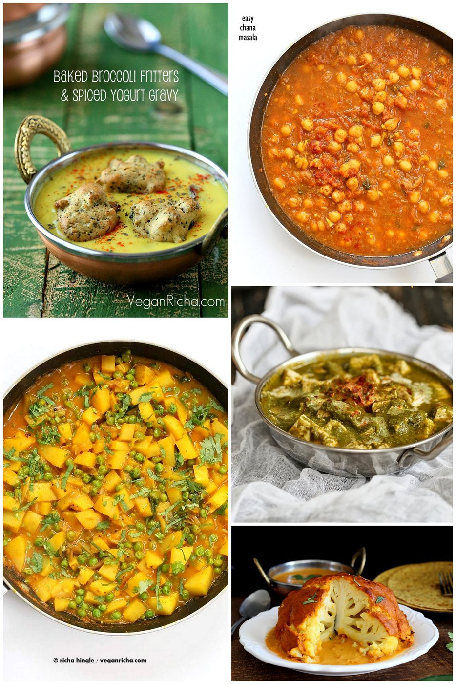 Popular Indian Curries and Entrees like Whote roasted cauliflower, Bombay Potatoes, Kadhi, Pasanda Sauce, Palak tofu and more | VeganRicha.com
