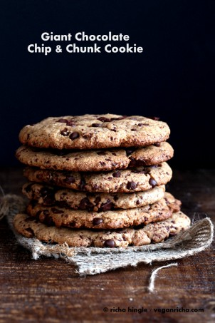 Giant Chocolate Chip Cookies |Vegan Richa