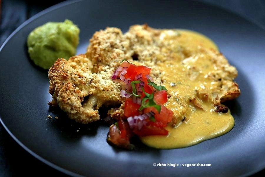 Almond Crusted Cauliflower with Cheese Sauce | Vegan Richa